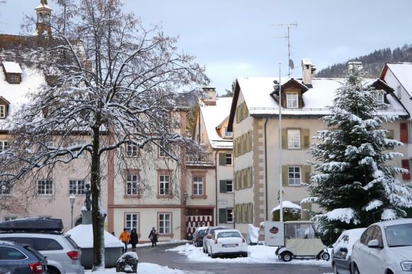 Bregenz, Oberstadt i Schnee, Dezember 2017