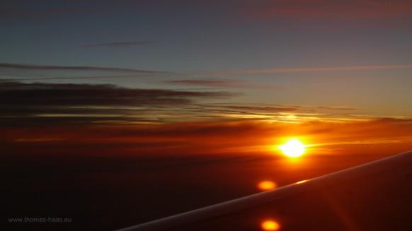 Sonnenaufgang auf dem Flug nach Hamburg