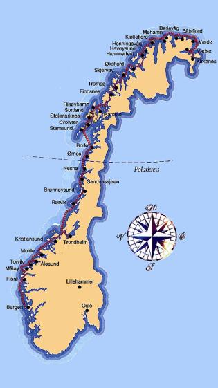 Verlauf Küstenlinie Norwegen