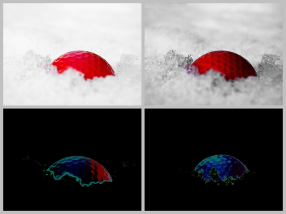 Bilder mit dem Golfball im Schnee...