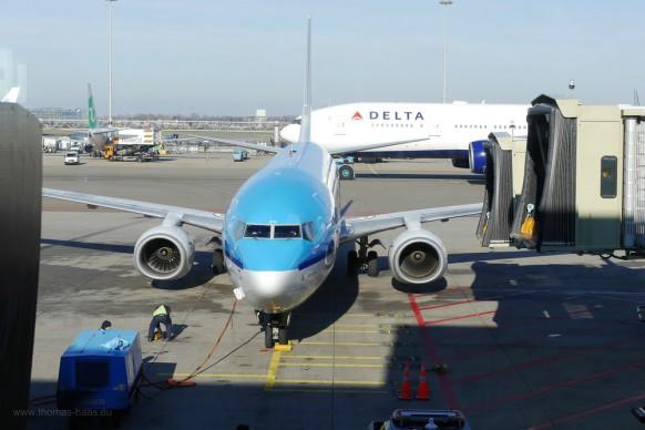 Flughafen Amsterdam, KLM-Maschine, Februar 2018