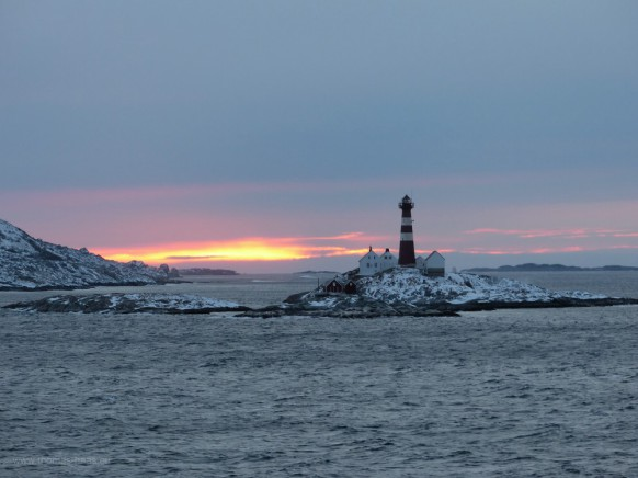 Leuchtturm Landegode nach dem Aslaufen in Bodø, Februar 2018