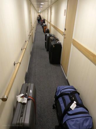 Abreisetag der Hurtigruten: Koffer auf dem Gang!