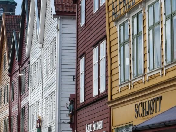 Hanseviertel Bryggen in Bergen, Februar 2018