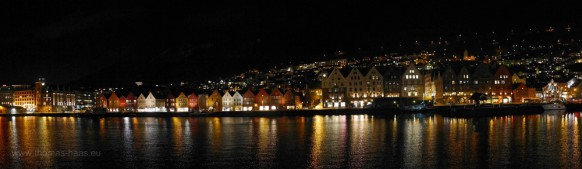 Bergen bei Nacht, Bryggen, Februar 2018