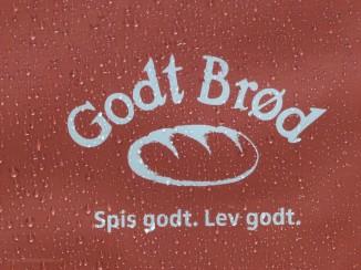 Werbung in Bergen, Norwegen, für Brot