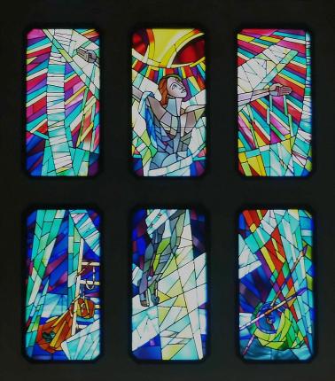 ev. Kirche Hammerfest, Glasmosaik, Altarwand, Ausschnitt