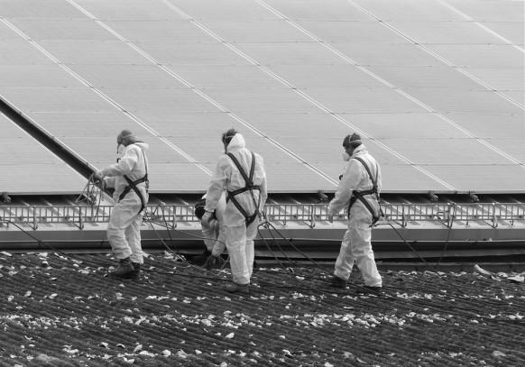 Bild des Monats, Mai 2018, Mitarbeiter einer Entsorgungsfirma im Einsatz