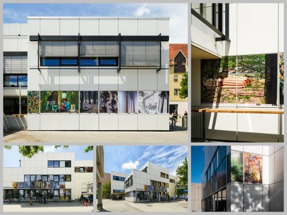 Collage, #WALD an der Fassade der vh ulm, Juni 2018