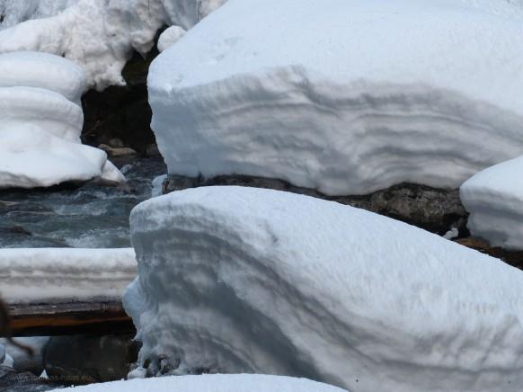 Auf dem Rückweg entlang der Breitach, Schnee...