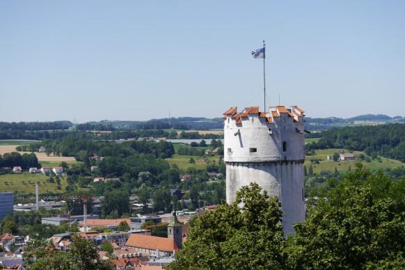 Der Mehlsack, das Wahrzeichen von Ravensburg, ein Turm in der Altstadt