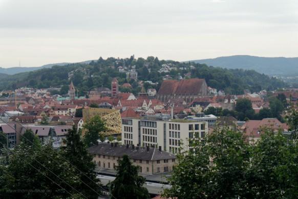 Blick von St. Salvator auf die Stadt Schwäbisch Gmünd, August 2019