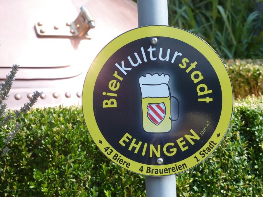 Schild in Ehingen, Bierkulturstadt, 2019