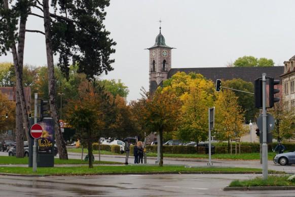 Die Luther-Kirche in der Ulmer Weststadt vom Ehinger Tor aus gesehen