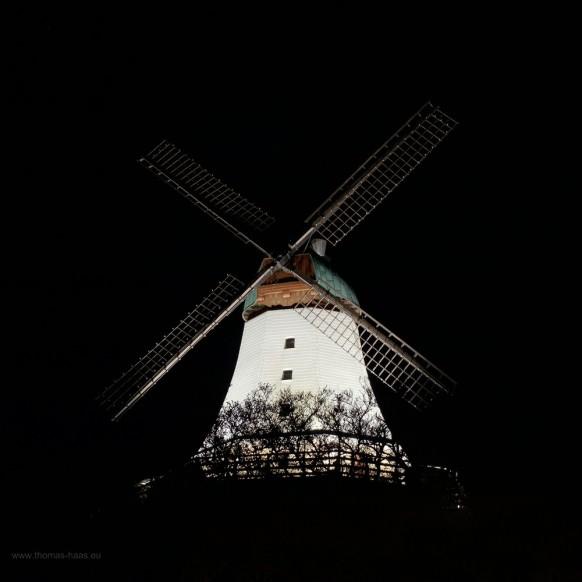 Windmühle Amanda in Kappeln, Nachtaufnahme, Oktober 2019