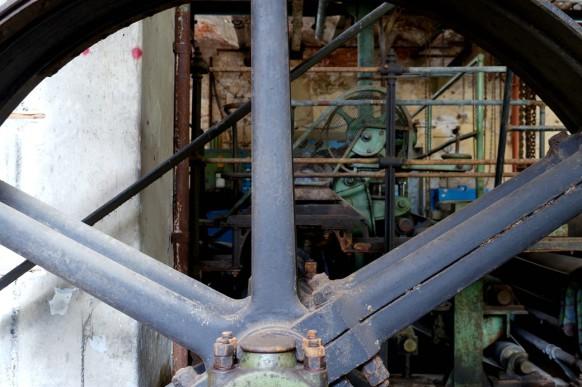 Durchblick von der Treibseite, Papiermaschine, Blankenberg, 2020