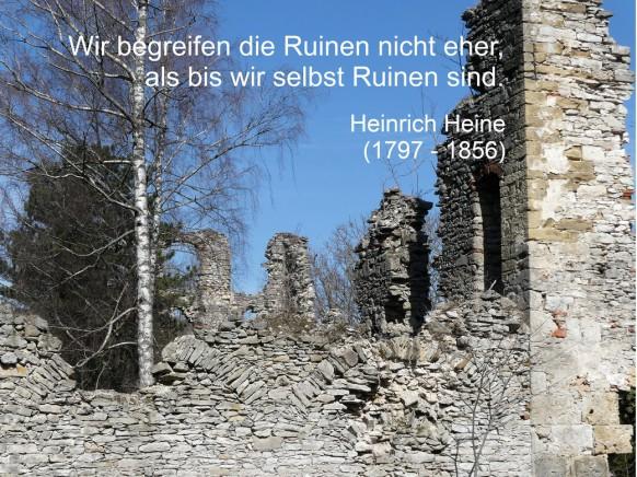 Die Burgruine Lauterburg mit einem Heine-Zitat
