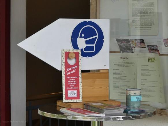 Pandemiehinweise im Bauernhofmuseum Illerbeuren, August 2021